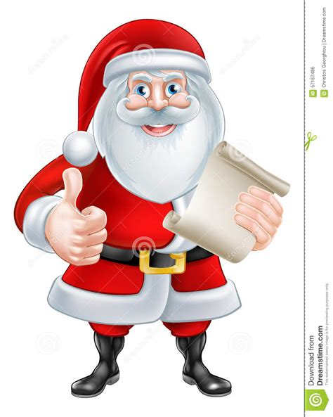 santa claus thumbs up thumbs up santa with list stock vector image 57167486