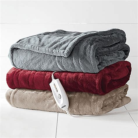 bed bath beyond blankets therapedic 174 electric heated silky plush throw blanket