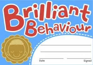 brilliant behaviour reward certificates