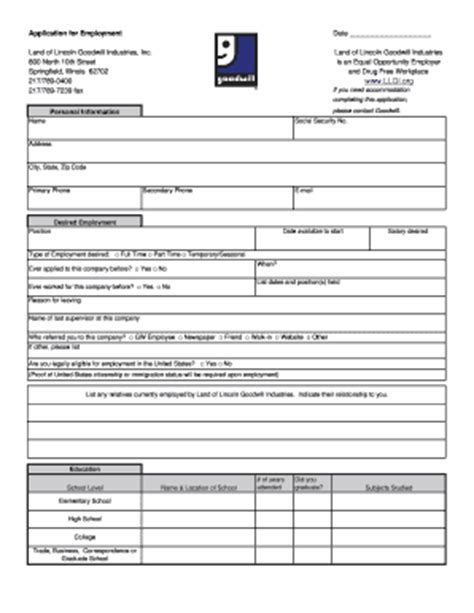 printable job application for goodwill bill of sale form illinois employment application