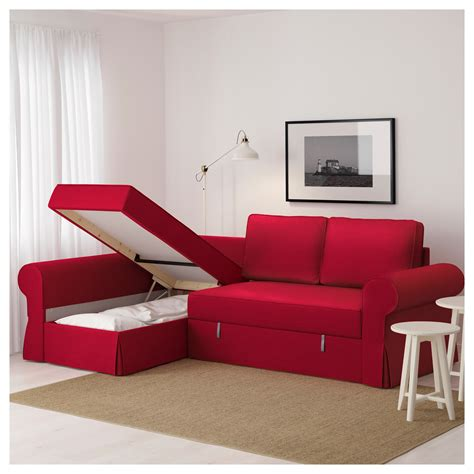 red sofa with chaise backabro sofa bed with chaise longue nordvalla red ikea