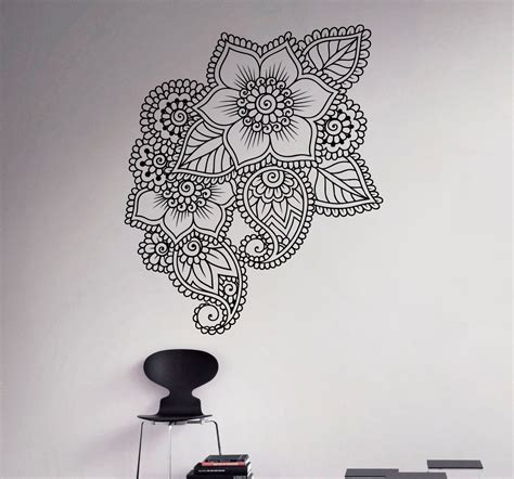 henna design wall stencils abstract flowers mehndi wall vinyl decal henna indian ornament
