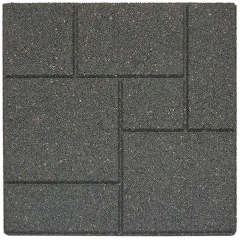 envirotile cobblestone 18 in x 18 in gray black rubber