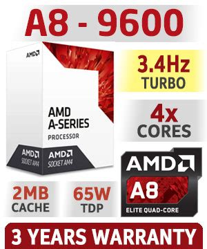 Processor Amd A8 9600 3 1ghz Up To 3 4ghz Bristol Ridge Diskon amd a8 9600 am4 apu with radeon r5 graphics