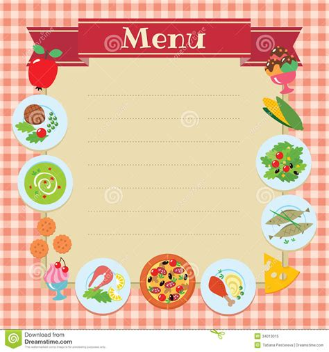 cafe or restaurant menu template stock vector image