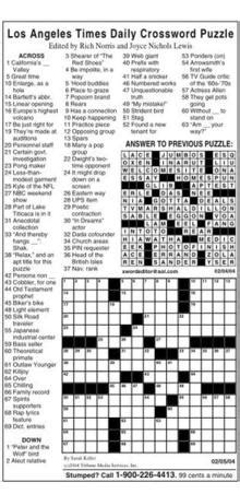 Today's Los Angeles Times crossword puzzle | The Michigan