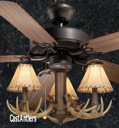 rustic ceiling fan light kit standard size fans 52 quot rustic ceiling fan w antler