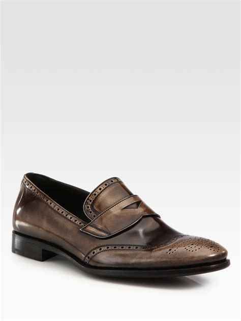 prada loafers mens prada leather loafers in brown for lyst