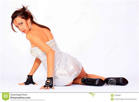 Photography Studio Floor Plans by Attractive Woman Wearing Silver Dress Stock Image Image