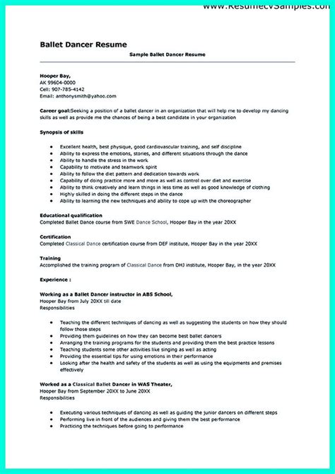 Ballet Cover Letter Dancer Model Resume