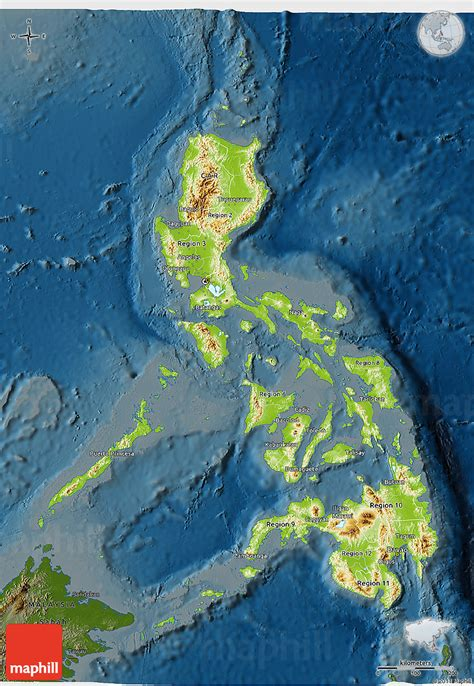 physical map of philippines physical 3d map of philippines darken
