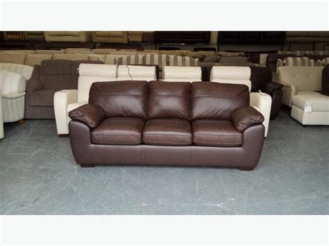 3 seater leather sofa bed ex display alberta brown leather 3 seater sofa bed outside