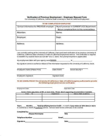 employment verification form template sle employment verification form 8 exles in word pdf