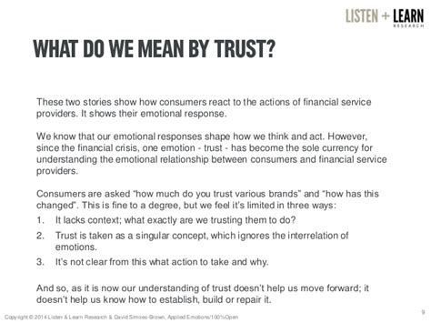 story themes about trust repaying the trust overdraft
