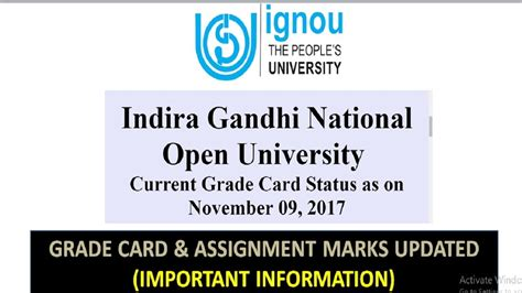 Ignou Mba Result Grade Card by Update Ignou Grade Card Assignment Marks