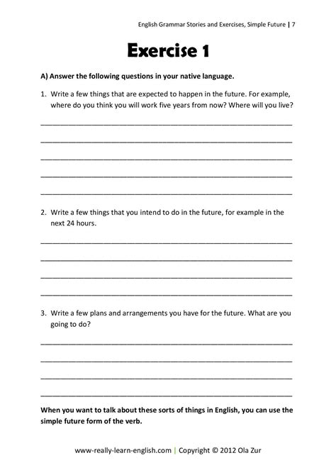 question of simple future tense stories and exercises to practice the simple tenses