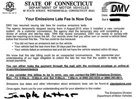 Gift Letter Ct Dmv Ct News Junkie Dmv Will Start Sending Out Late Fee Notices For Overdue Emissions