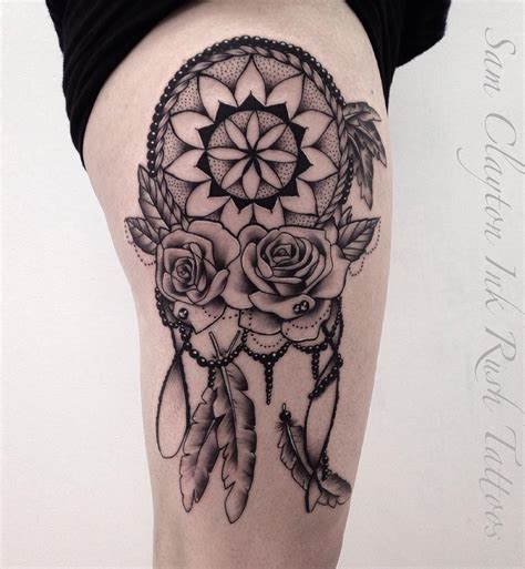 dreamcatcher thigh tattoos custom dreamcatcher yeahtattoos