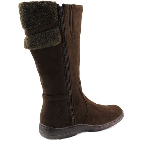 faux fur high heel boots s warm mid length knee high faux fur fashion flat
