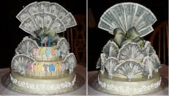 Money cake made for a 70th birthday gift cake made from styrofoam