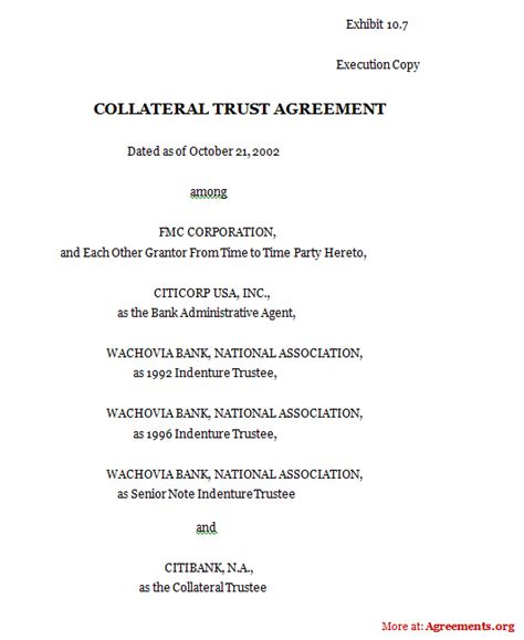 Trust Loan Agreement Template Collateral Trust Agreement Sle Collateral Trust Agreement