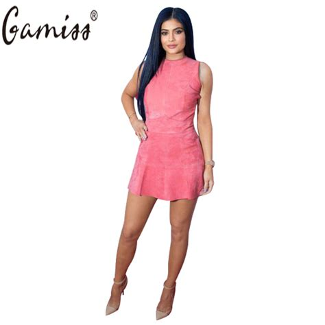 Dress Belahan New Fashion Impor gamiss 2017 new fashion dresses summer style faux suede sleeveless pink casual s