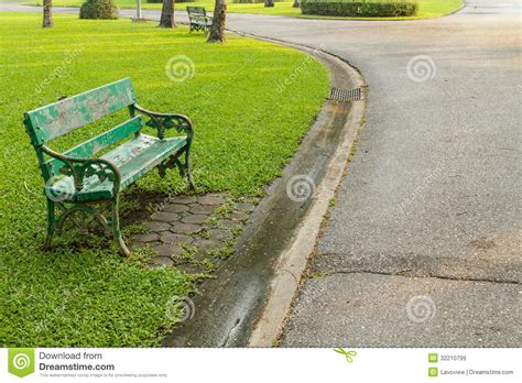 bench at the greene green bench in the park royalty free stock images image