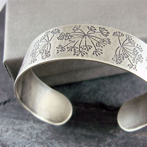 Handmade Silver Bracelets Uk - cow parsley silver cuff bracelet by camali design