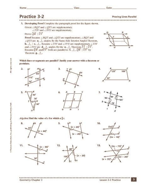 Angles And Parallel Lines Worksheet Answers by 3 1 Skills Practice Parallel Lines And Transversals