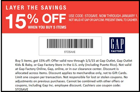 printable coupons gap outlet usa gap factory 15 off coupon through january 1
