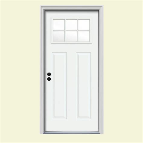 32 Exterior Door With Window Jeld Wen 32 In X 80 In 6 Lite Craftsman White Painted Steel Prehung Right Inswing Front