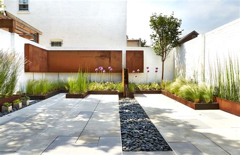 modern home landscaping a modern row house for a fun couple with a love of cooking