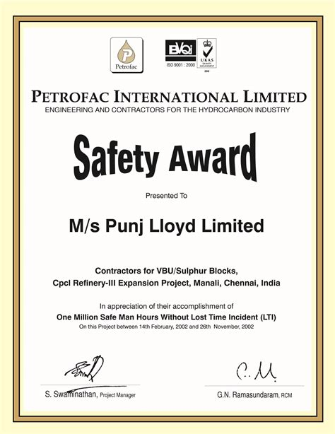 health and safety certificate template safety certificates punjlloyd