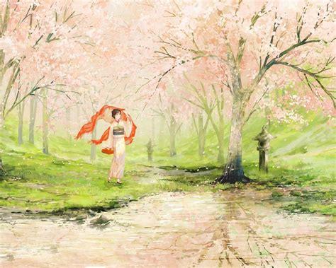 1280x1024 cherry blossom geisha japan desktop pc and mac