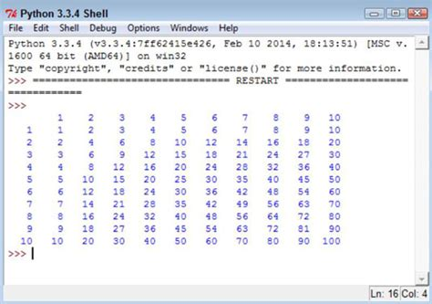 print 5 multiplication table using for loop how to nest loop statements in python dummies