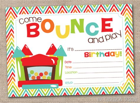 printable bounce house invitations ink obsession designs lots of new printable and instant