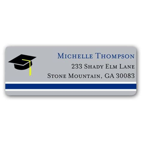 graduation silver blue return address labels paperstyle colors stripe graduation silver blue return address labels