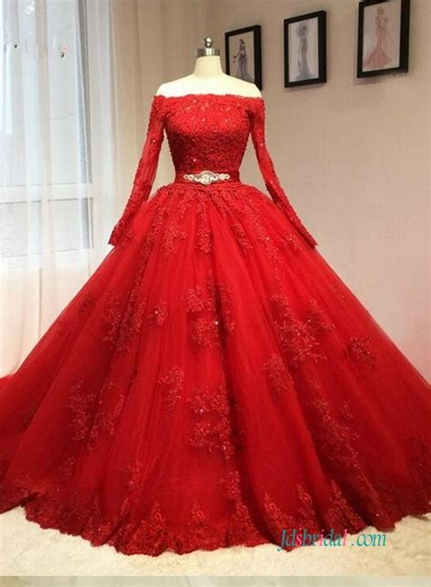 vintage red long sleeved ball gown wedding dress  lace