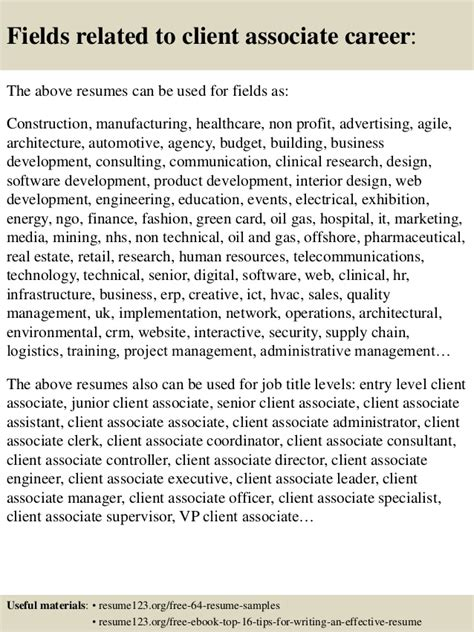 top 8 client associate resume sles