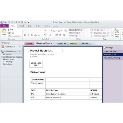 project management onenote template onenote project management templates svoboda2