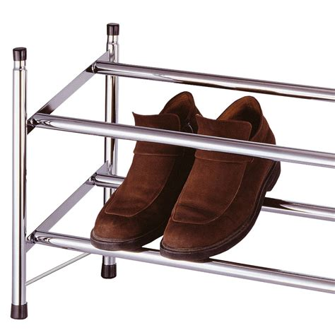 Shoes Organiser 2 In 1 Shoes Organizer chrome expandable 2 tier shoe rack stackable extendable organiser shoes new ebay