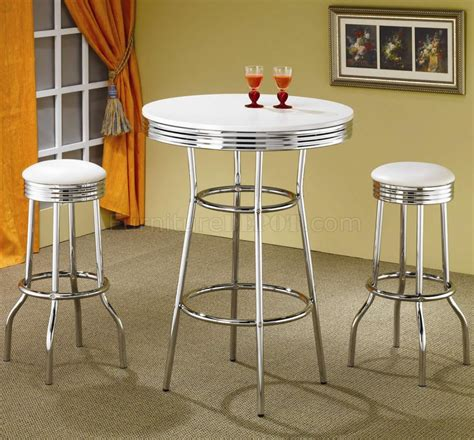 chrome top bar white top chrome base modern 3pc bar set w optional stools