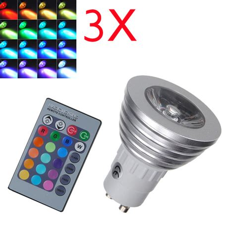 color changing led light with remote 3x gu10 rgb led bulb 3w remote 16 color changing