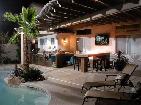 Dim Lighting Illuminate Outdoor Kitchen With Natural Wood Outdoor Kitchen Lighting