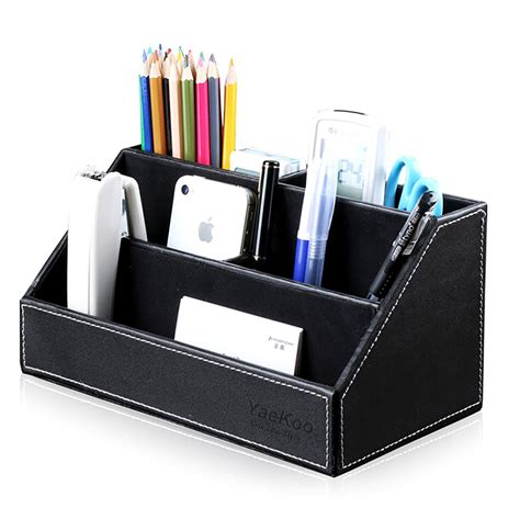 Office Desk Stationery Home Office Desk Pu Leather Stationery Organizer Pens Pencils Holder Storage Box Ebay