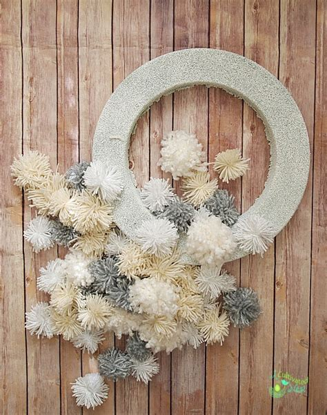 diy winter yarn pom pom wreath