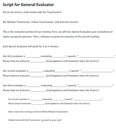 toastmaster evaluation template 20 free word pdf