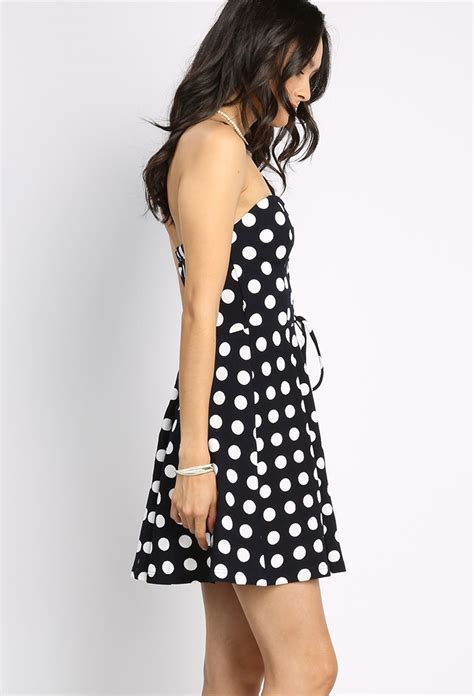 lace up polka dot mini dress shop day dresses at papaya clothing