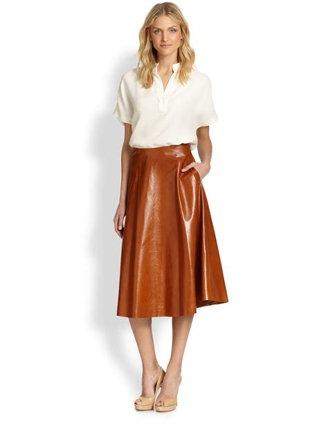 lafayette 148 new york leather flared skirt in