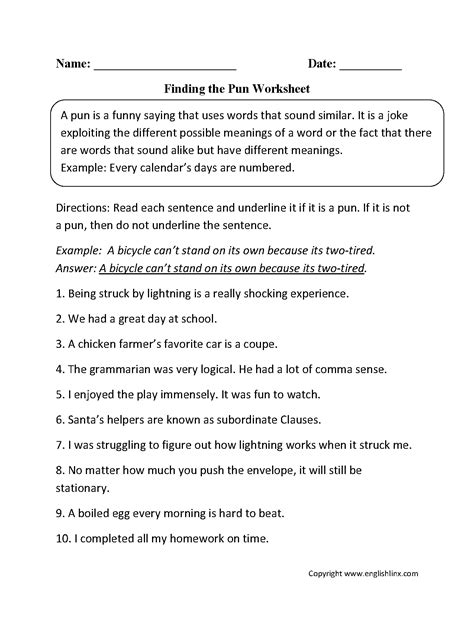 pun worksheets for highschool students puns worksheet high school puns best free printable